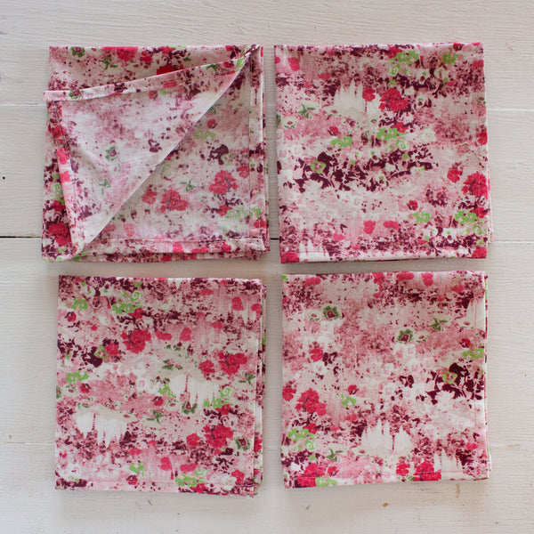 cloth napkins - pink florals