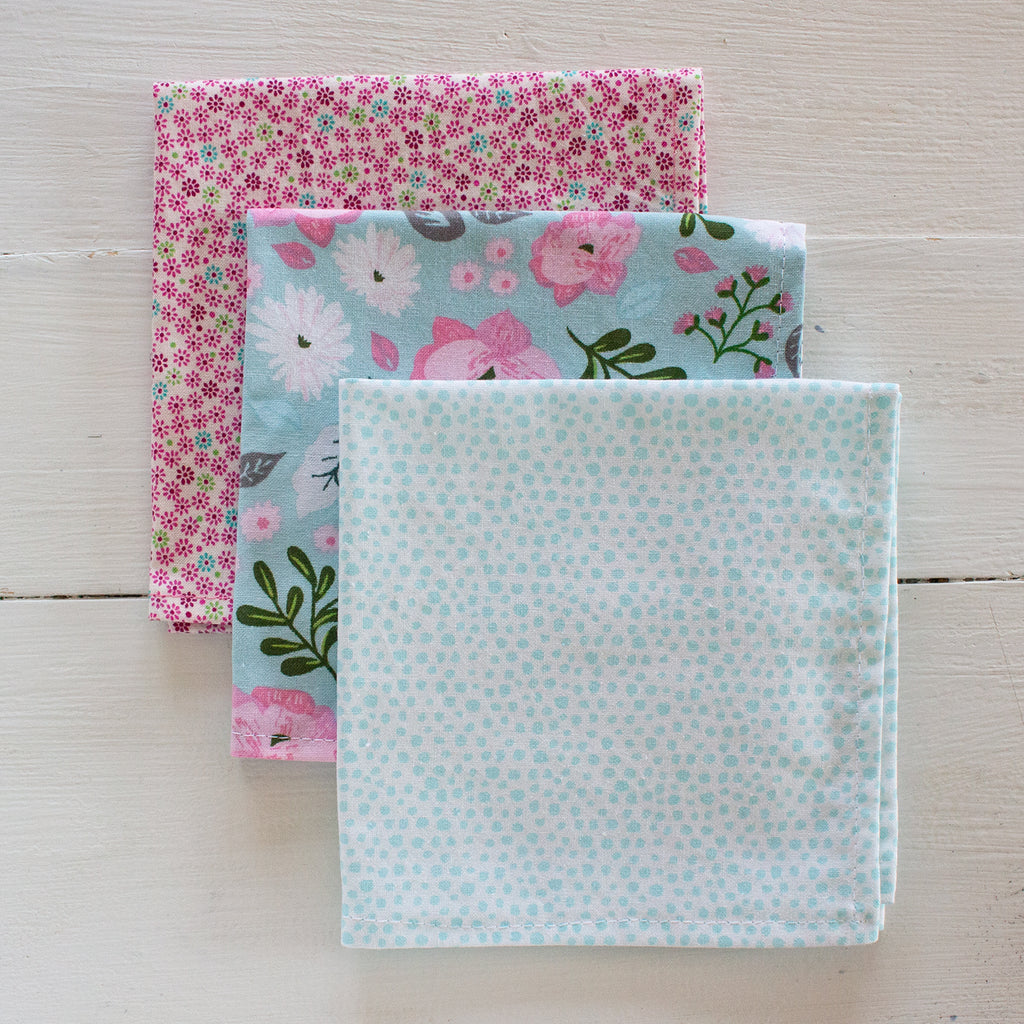 cloth napkins - pink and teal flowers