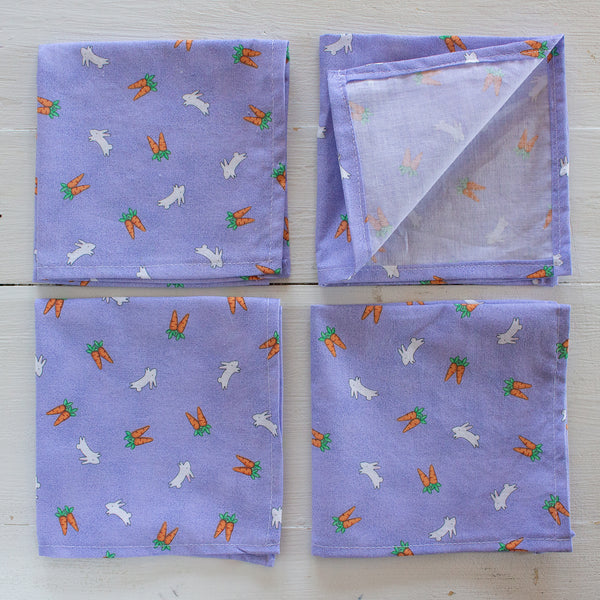 cloth napkins - purple bunnies