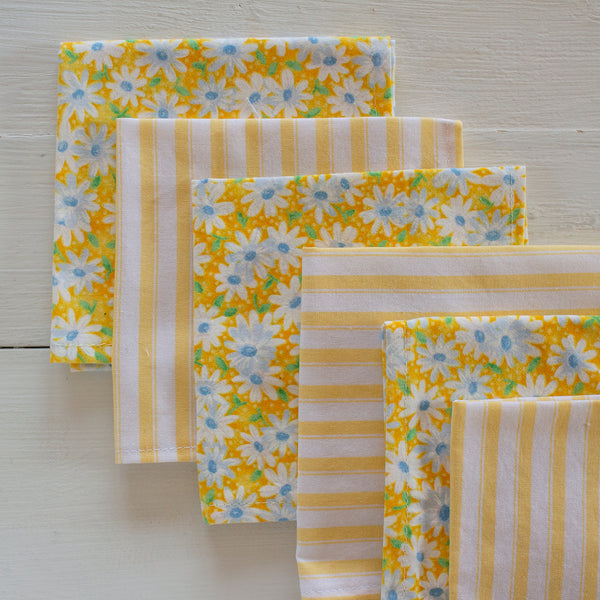 cloth napkins - yellow flowers and stripes