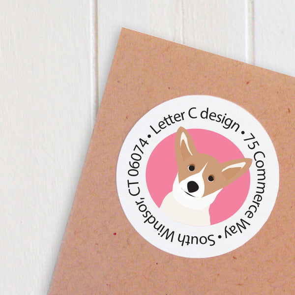 round corgi address labels - one