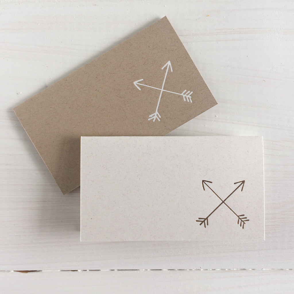 crossed arrows foil stamped place cards