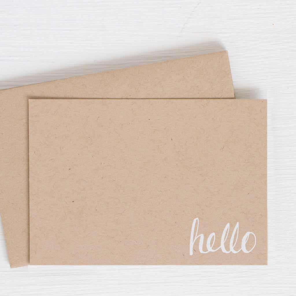 kraft pressed flat notecards - HELLO