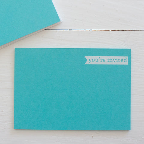pressed flat notecards - teal YOU'RE INVITED