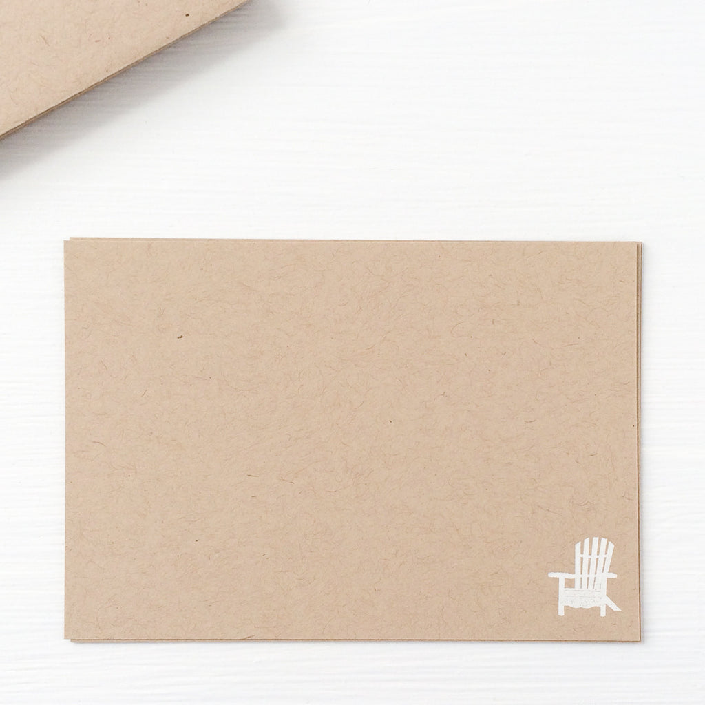 kraft pressed flat notecards - adirondack chair