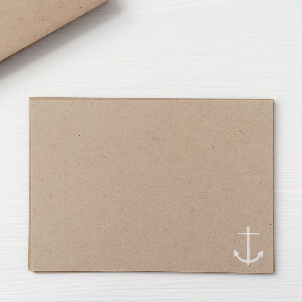 kraft pressed flat notecards - anchor