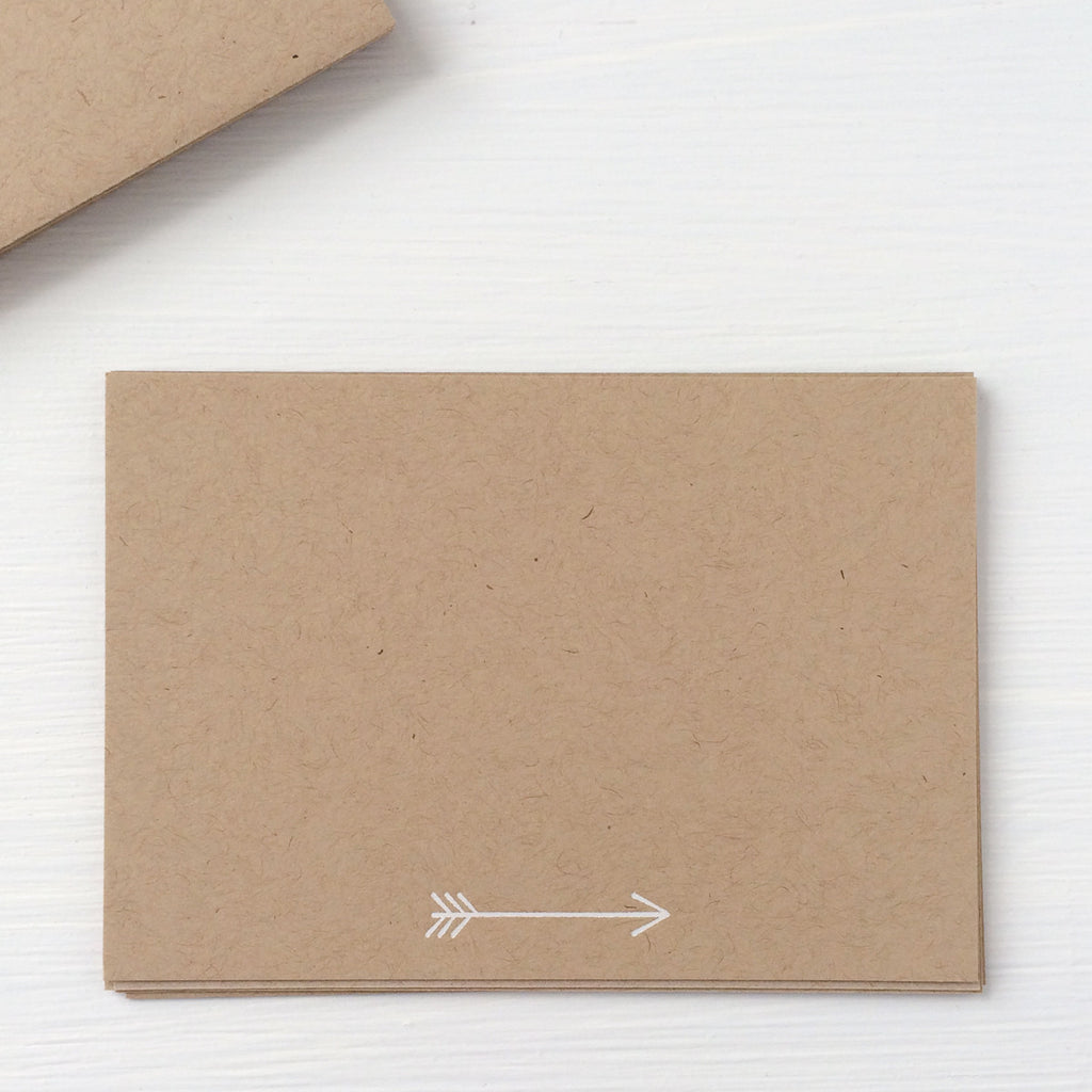 kraft pressed flat notecards - arrow
