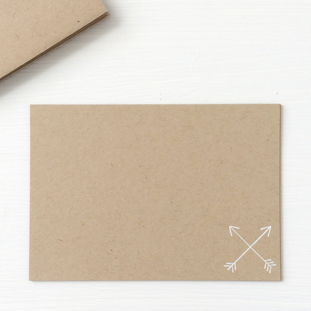 kraft pressed flat notecards - crossed arrows
