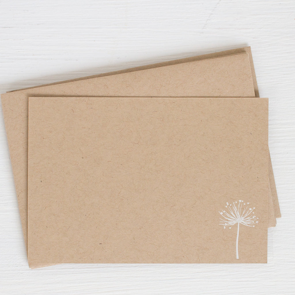 kraft pressed flat notecards - DANDELION