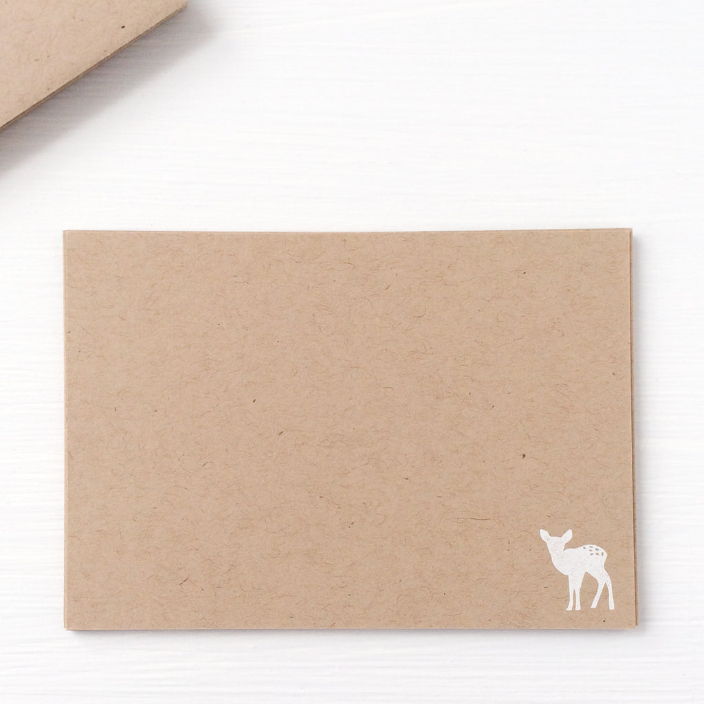 kraft pressed flat notecards - deer