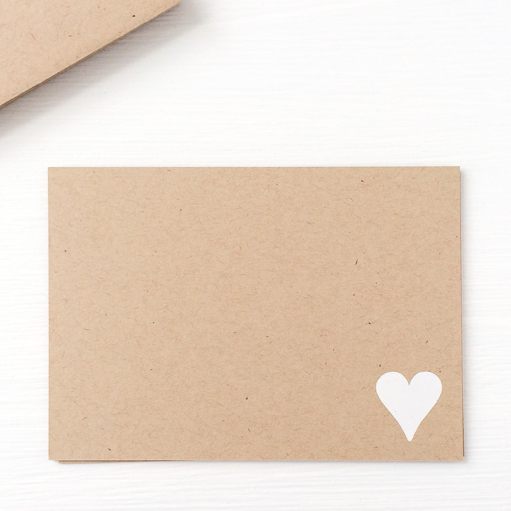 kraft pressed flat notecards - heart