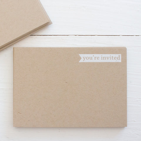pressed flat notecards - kraft YOU'RE INVITED