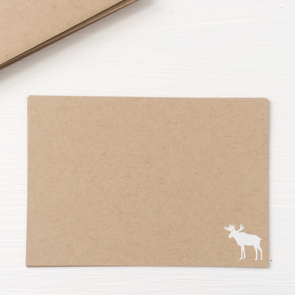 kraft pressed flat notecards - moose