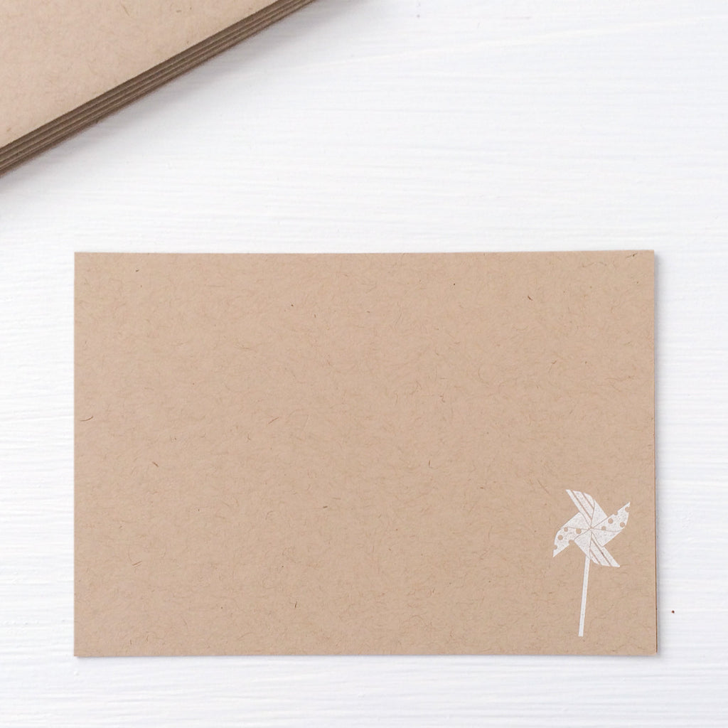 kraft pressed flat notecards - pinwheel