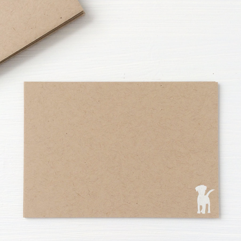 kraft pressed flat notecards - puppy