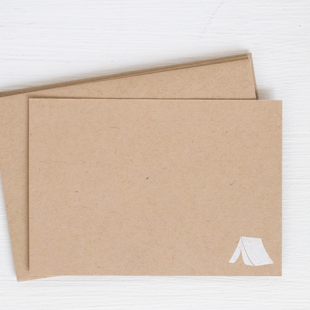 kraft pressed flat notecards - TENT