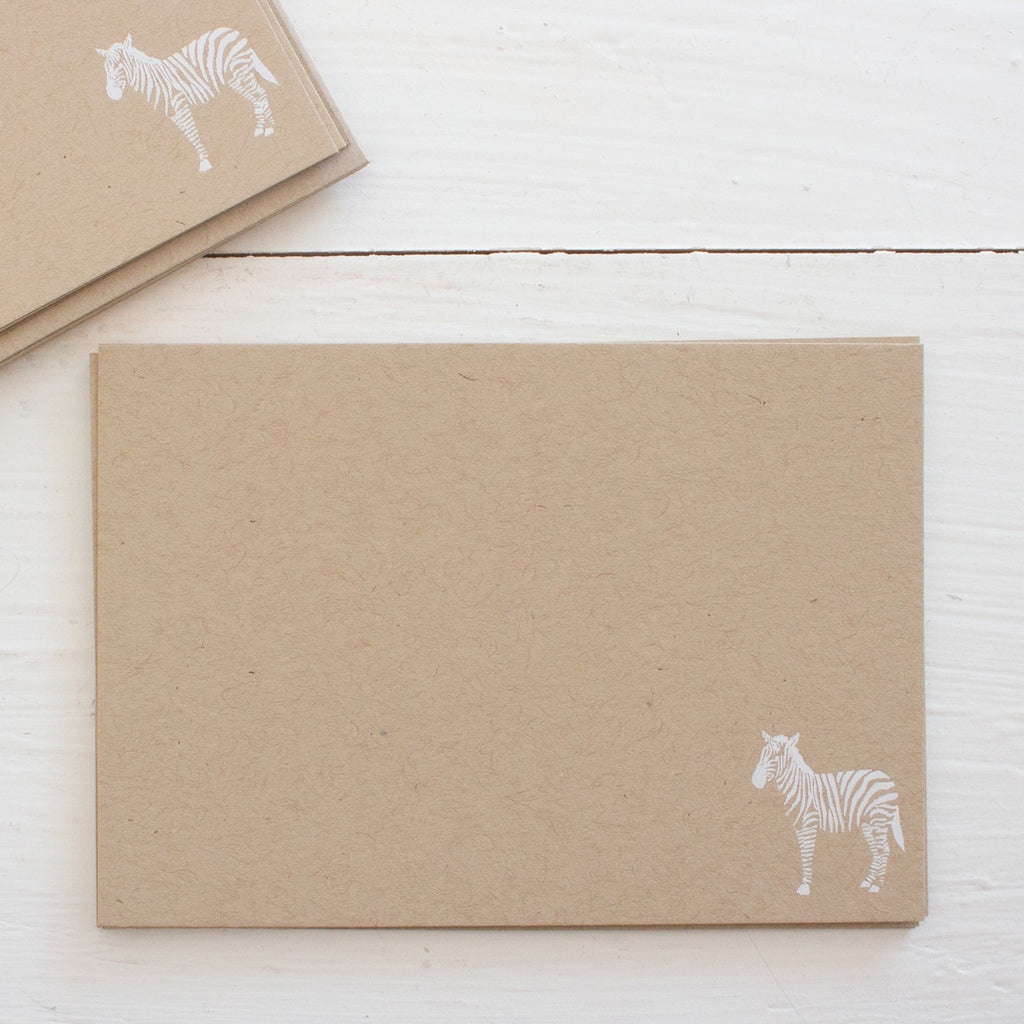 pressed flat notecards - kraft ZEBRA