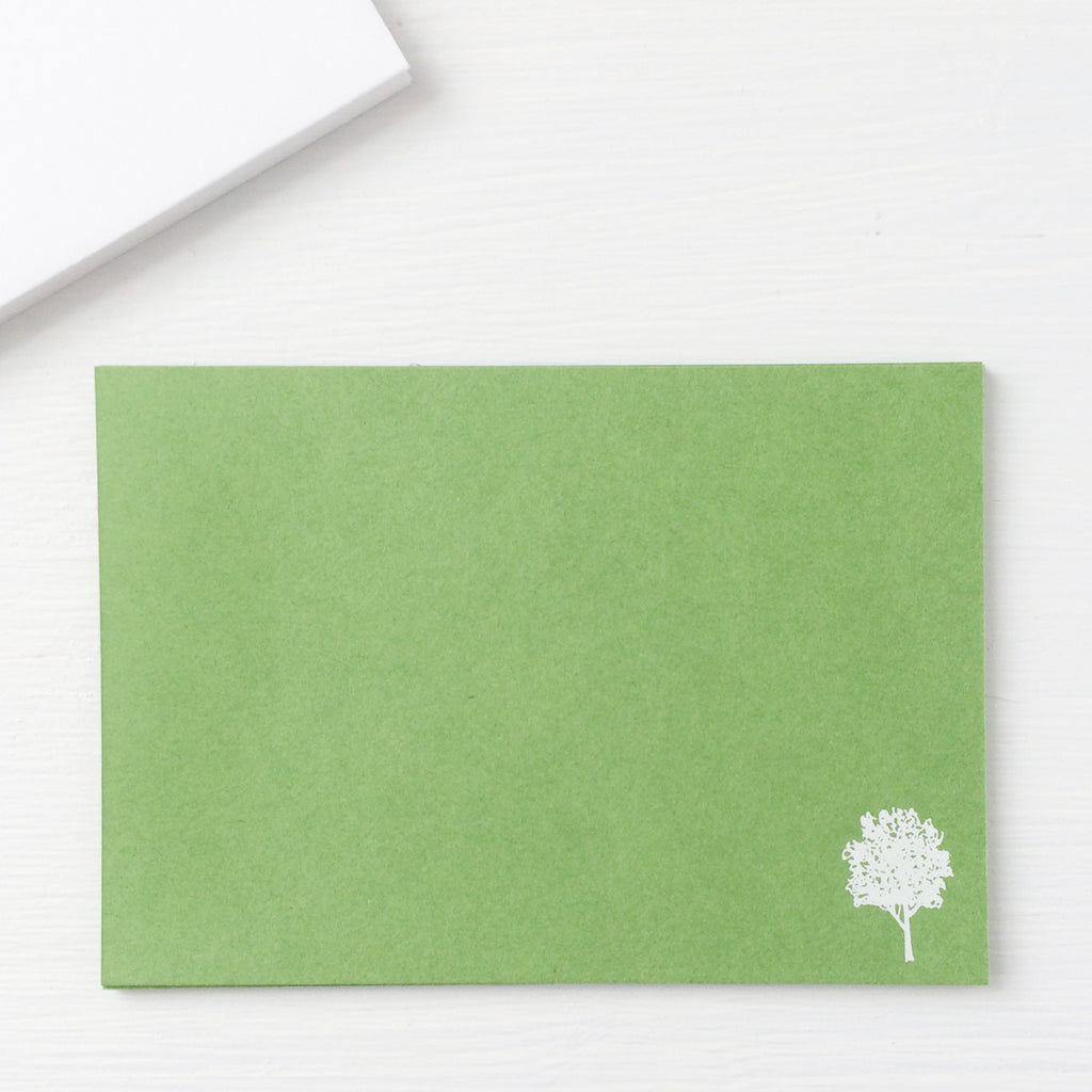 pressed flat notecards - OAK TREE