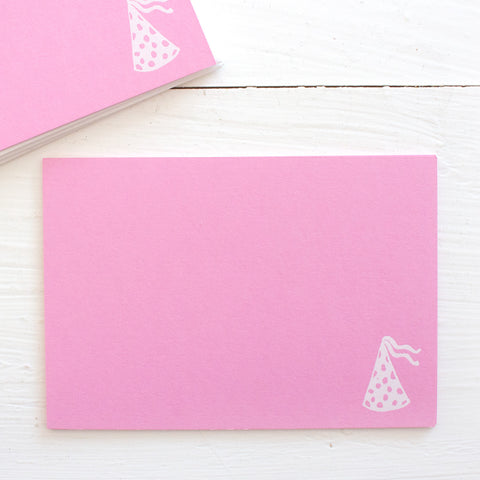 pressed flat notecards - pink PARTY HAT