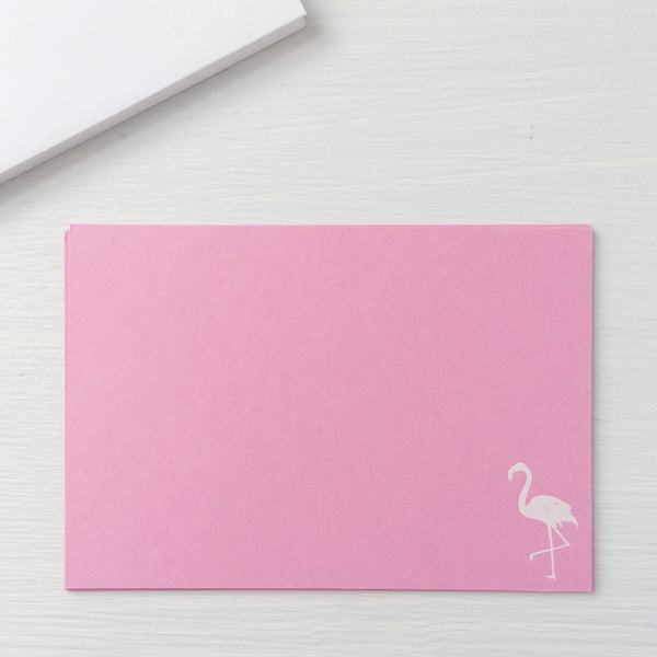 flamingo foil imprinted notecards