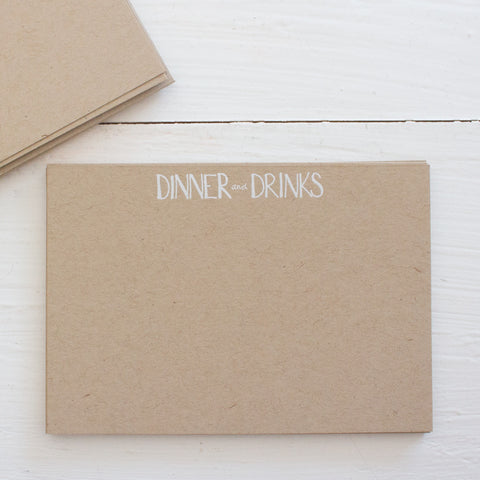 pressed flat notecards - kraft DINNER & DRINKS