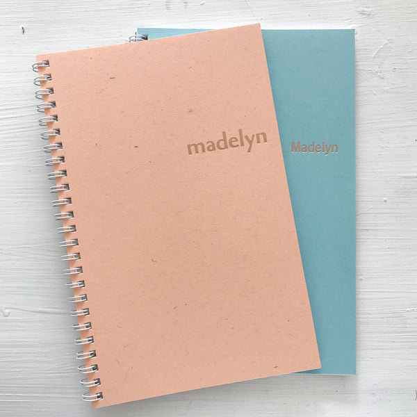 personalized rose gold foil pressed notebook