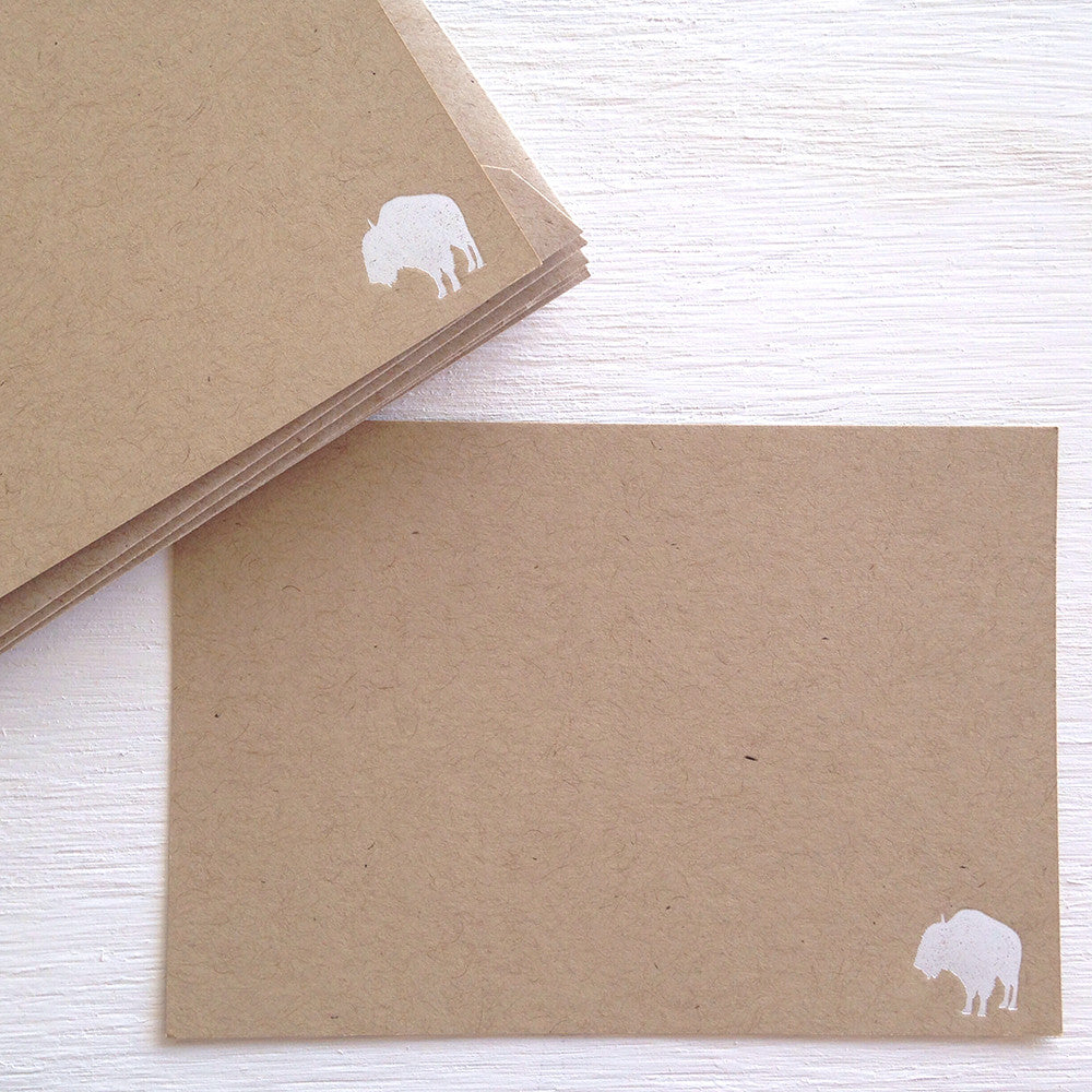 kraft buffalo flat notecards