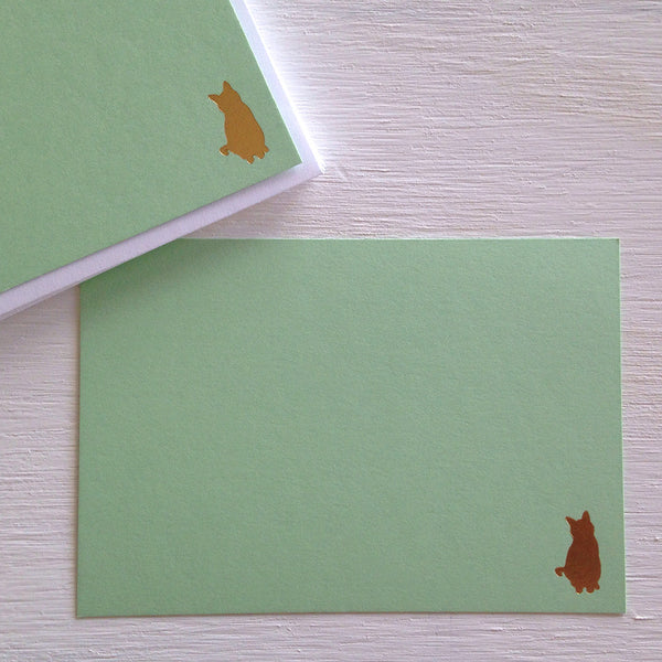 gold cat flat notecards