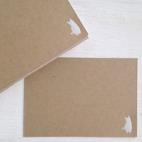 kraft cat flat notecards