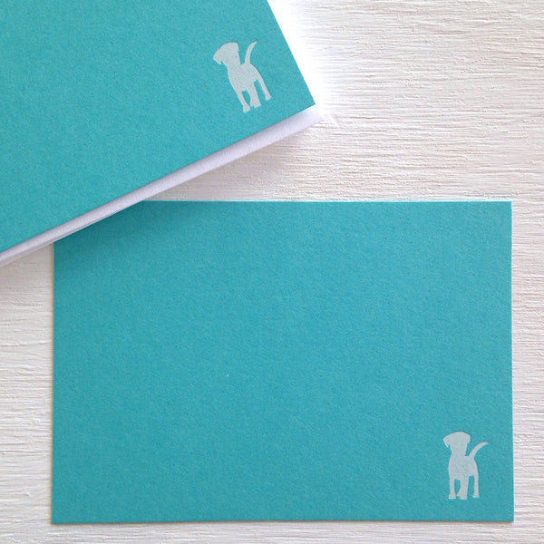teal dog flat notecards