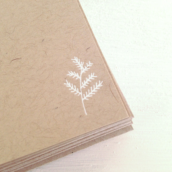 evergreen leaf kraft flat notecards