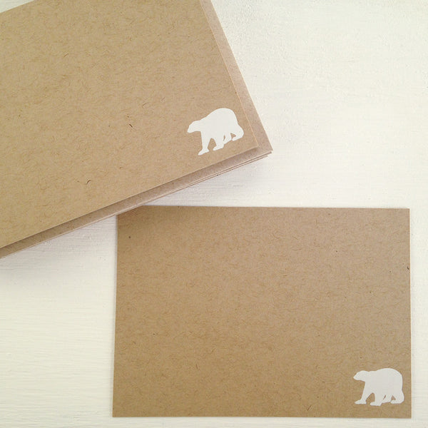 polar bear kraft flat notecards