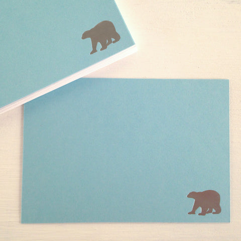 silver polar bear flat notecards