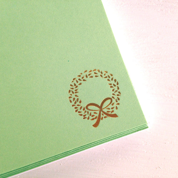 gold wreath flat notecards