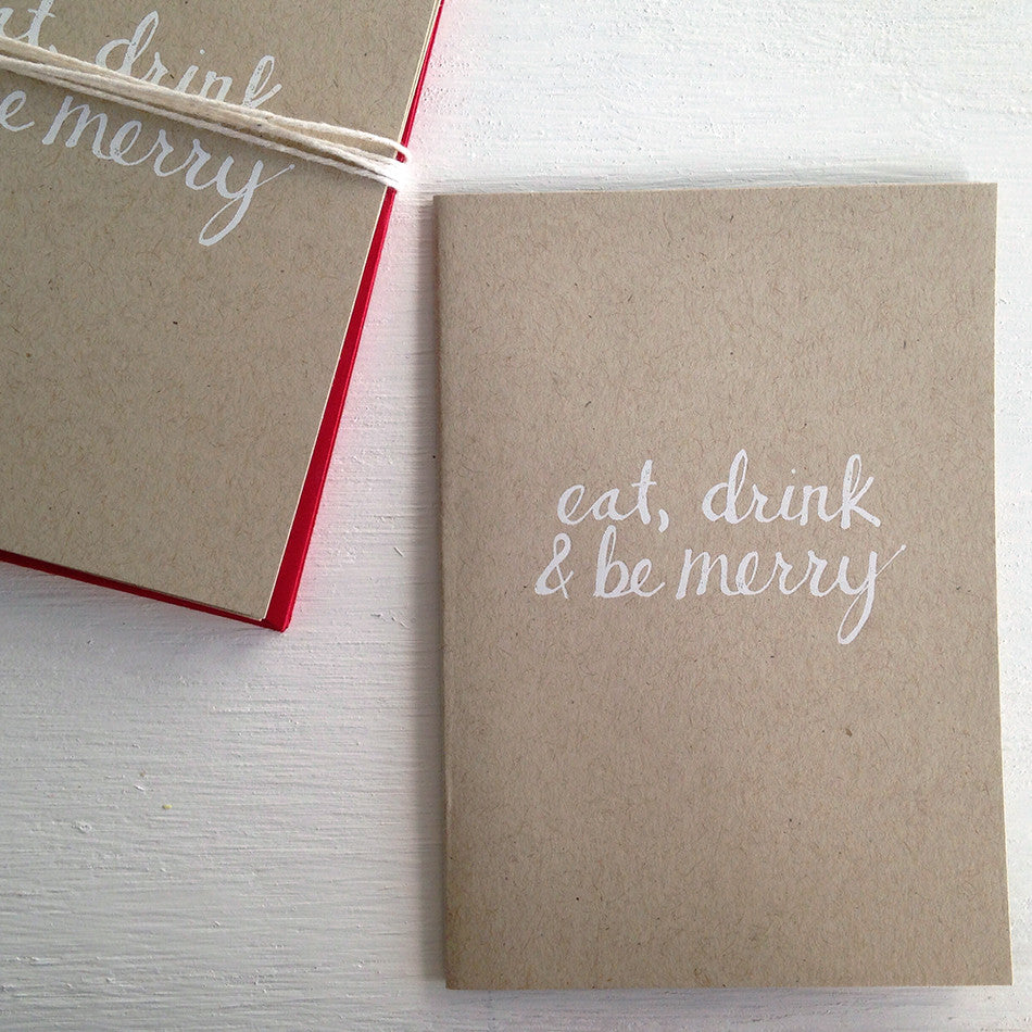eat, drink & be merry kraft folded notecards
