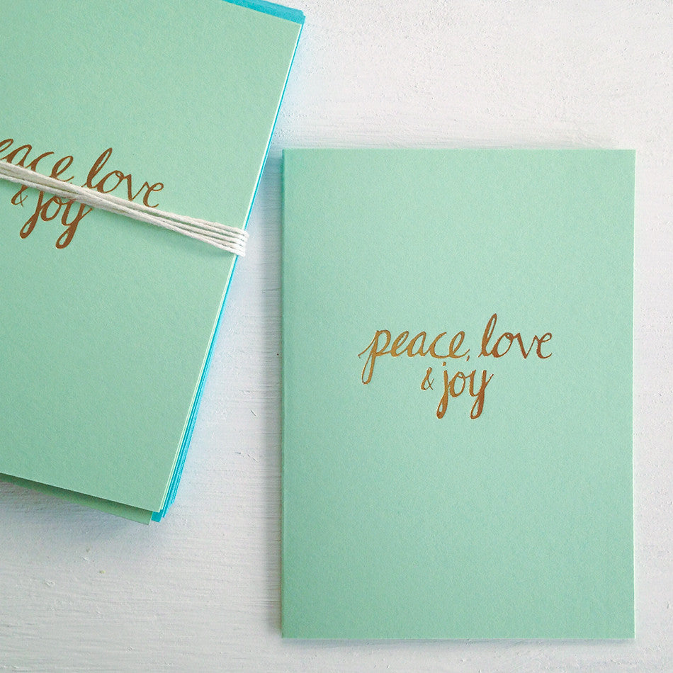 peace, love & joy mint folded notecards