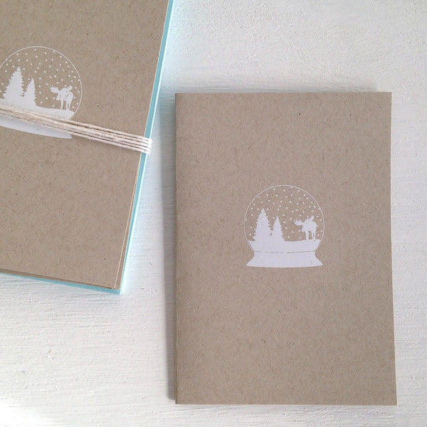 snow globe kraft folded notecards