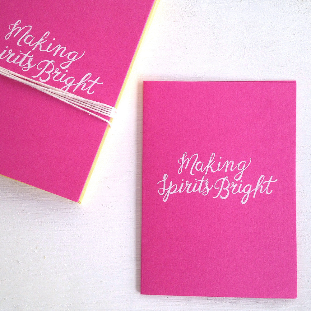 making spirits bright hot pink folded notecards