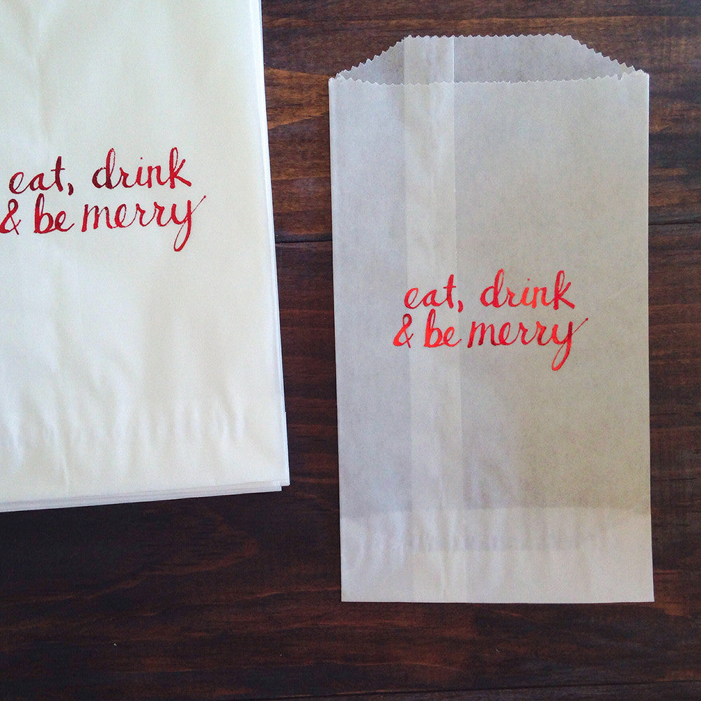 eat, drink and be merry glassine treat bags