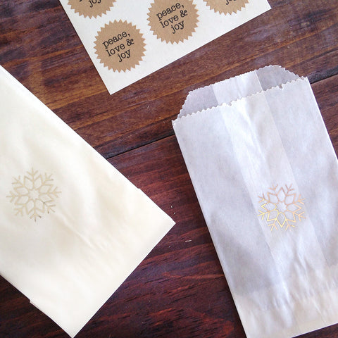 silver snowflake glassine treat bags