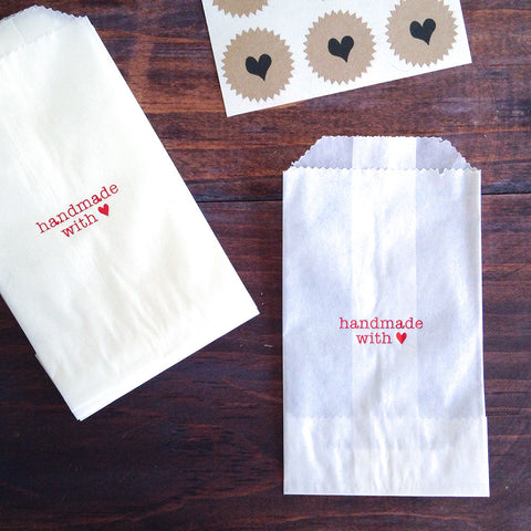 handmade with love glassine treat bags