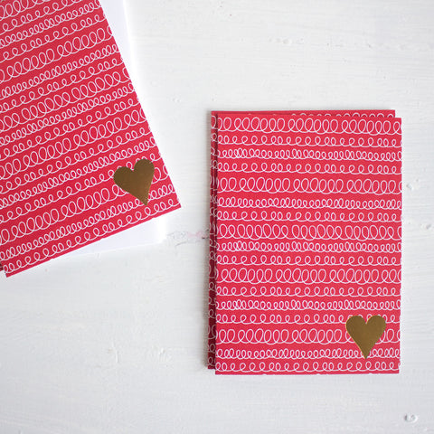 gold heart folded note cards