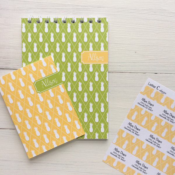 watercolor stripes folded mix and match personalized notecards and gift set