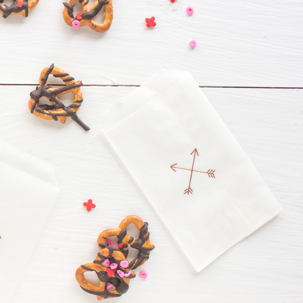 crossed arrows glassine treat bags