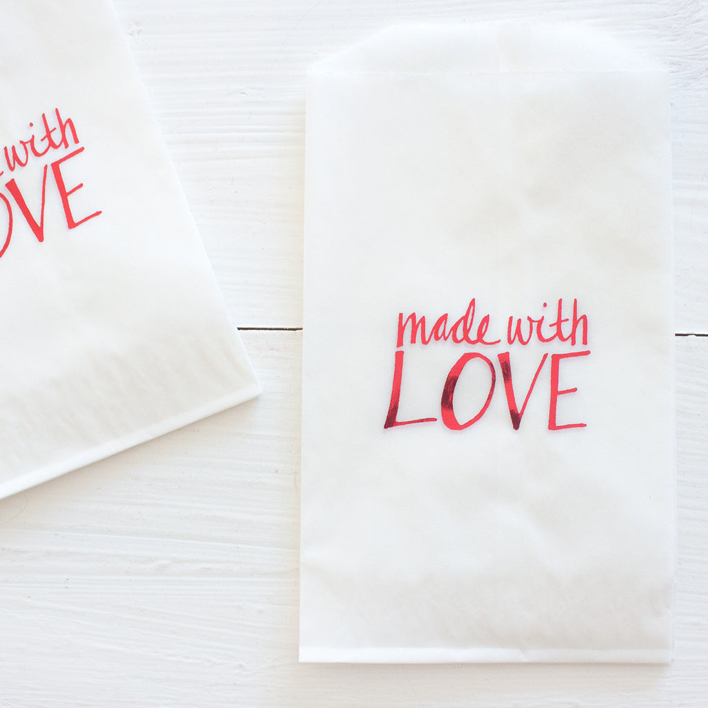 glassine treat bags - made with love