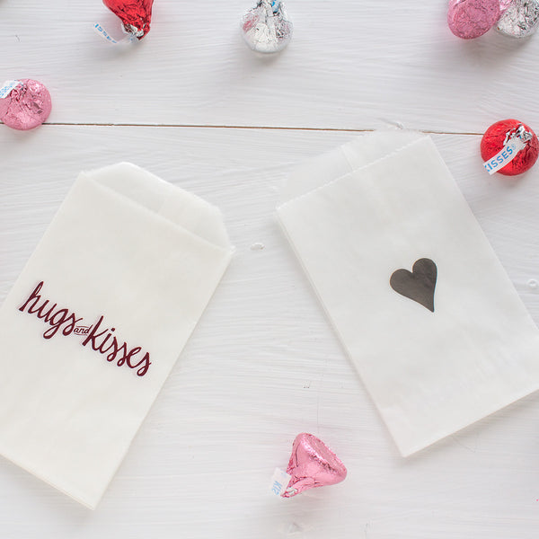 hugs and kisses glassine treat bags