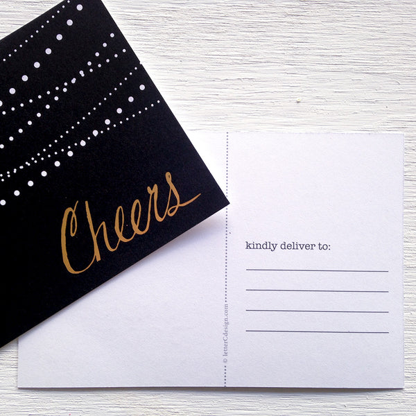 black, white and gold cheers postcards