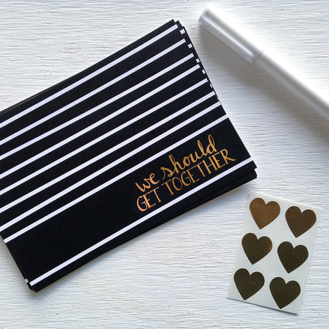 black, white and gold we should get together postcards