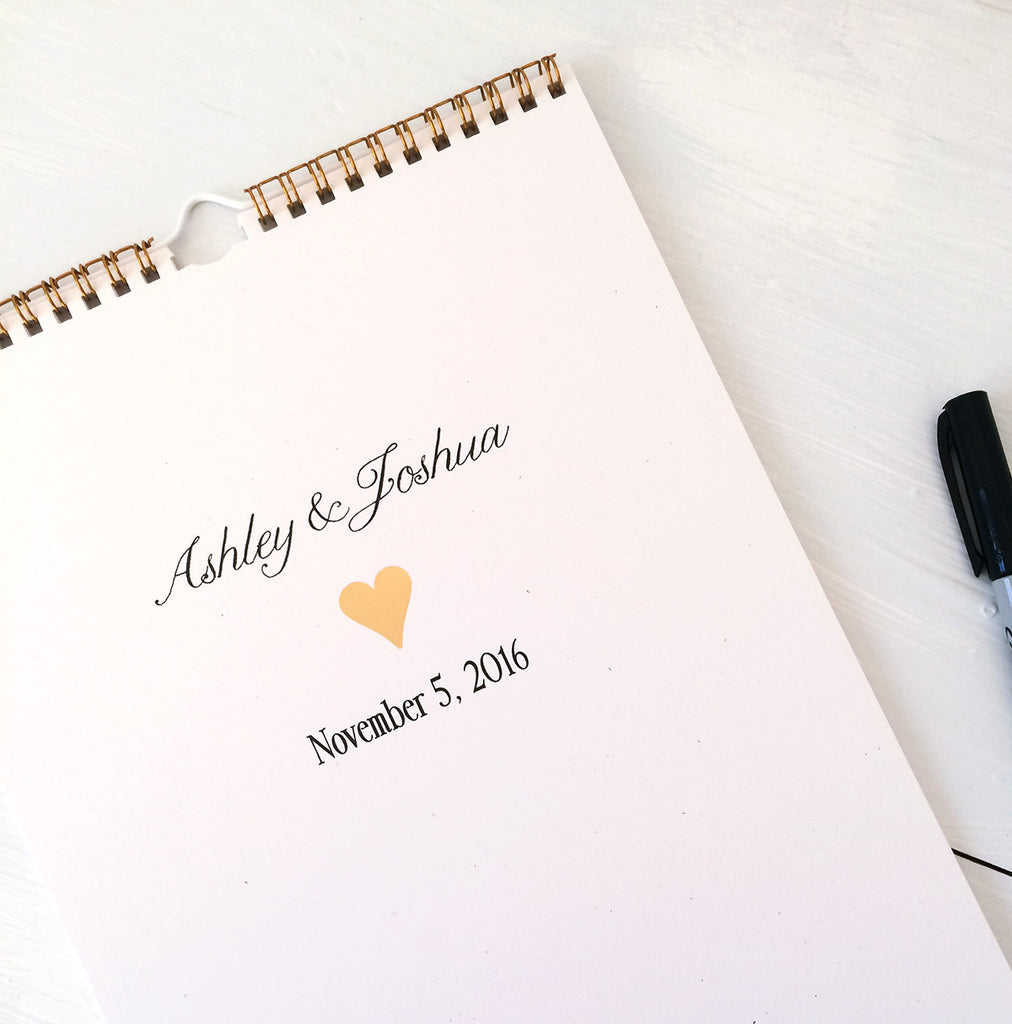 gold personalized wedding guest book calendar