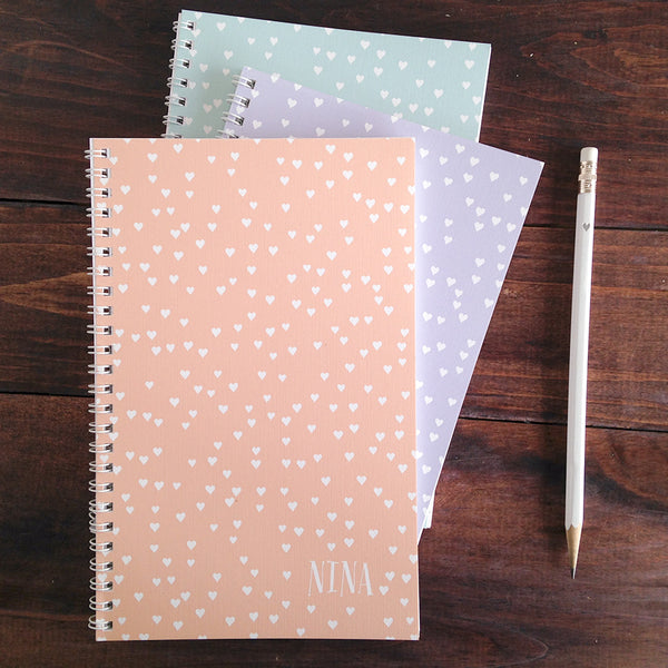 set of 3 heart confetti personalized travel notebooks